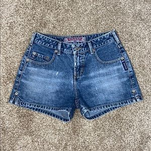 Distressed Silver Jean Shorts